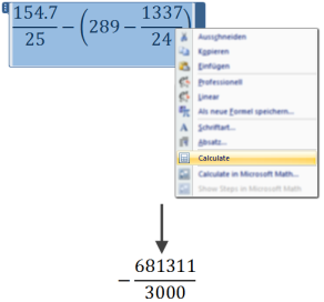 Illustration of the Microsoft Math add-in for Microsoft Word, calculating an expression